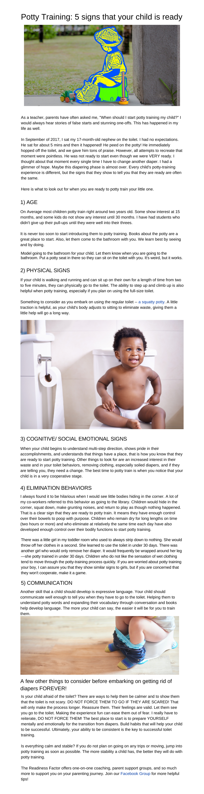 Potty Training: 5 Signs That your Child is Ready - full text